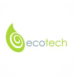 eco green leaf technology logo vector image