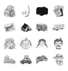 Family holiday set icons in monochrome style big vector