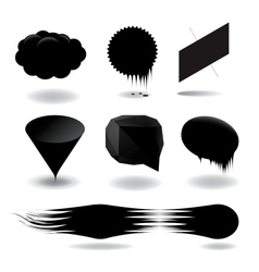 Fashion black speech bubble set vector image vector image
