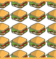 Fast food sandwich meal background vector