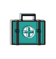 First aid kit medical emergency help attention vector