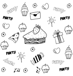 Food and drink doodle for party vector