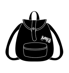 green hippy backpackhippy single icon in black vector image