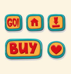 hand drawn 3d web buttons for the player go home vector image vector image