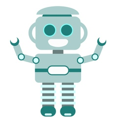 Happy little robot blue vector