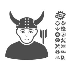 Horned warrior icon with tools bonus vector
