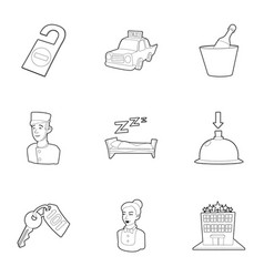hotel staff icons set outline style vector image