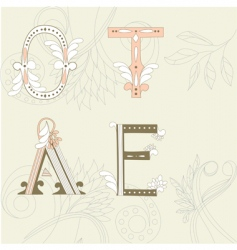 letters o t a e vector image vector image