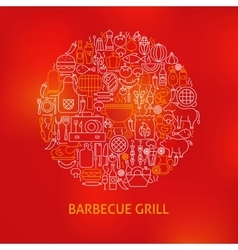Line barbecue grill icons circle concept vector
