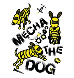 Mecha dog print for kids vector