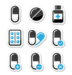 Pills medication icons set vector image vector image