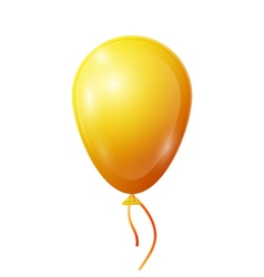 Realistic yellow balloon with ribbon isolated on vector