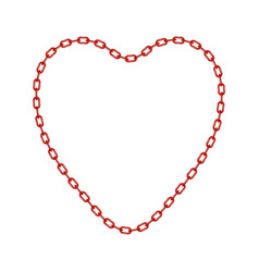 red chain in shape of heart vector image vector image