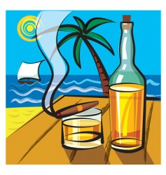 Rum and cigar vector