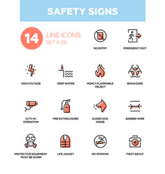 safety signs - modern simple icons pictograms set vector image vector image