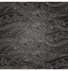 Seamless dark wave hand-drawn pattern vector image