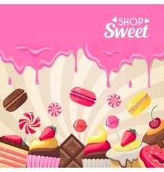 Sweet dessert food frame isolated on white vector