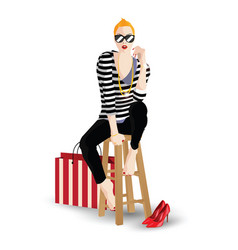 The fashionable girl in style pop art vector