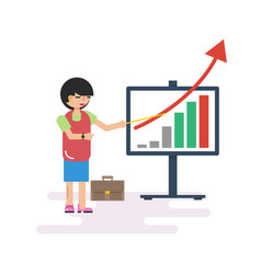 woman with presentation board vector image