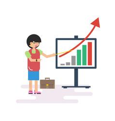 Woman with presentation board vector