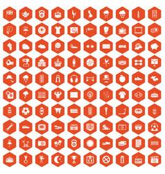 100 soccer icons hexagon orange vector