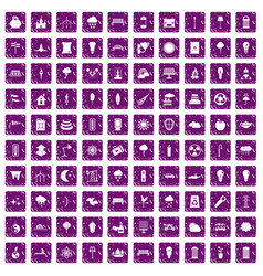 100 street lighting icons set grunge purple vector