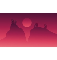 On red bckgrounds cliff scenery vector