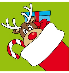 Reindeer wishing merry christmas vector