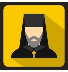 Orthodox priest icon flat style vector