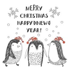 penguins in Santa hats vector image