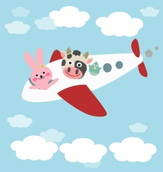 Animals in airplane vector