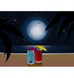 Summer moonlight and cocktails vector