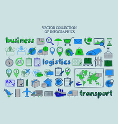 colored sketch delivery elements collection vector image