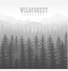 Wild coniferous forest background pine tree vector