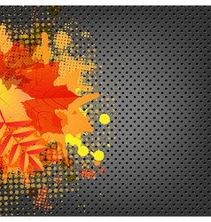 Abstract metal background with orange blob and vector
