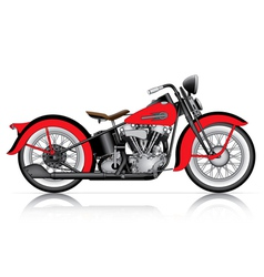 Red classic motorcycle vector