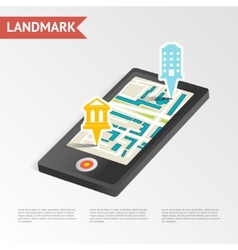Real estate landmark mobile device isometric vector