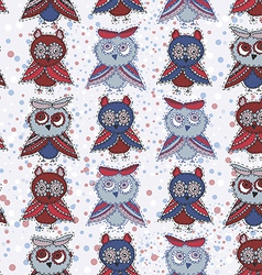 Seamless background with owls blue red gray brown vector