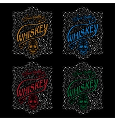 Grunge whiskey labels with skull and flower vector