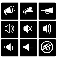 Black speaker icon set vector