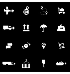 White logistic icon set vector