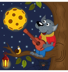 Wolf at full moon plays guitar vector