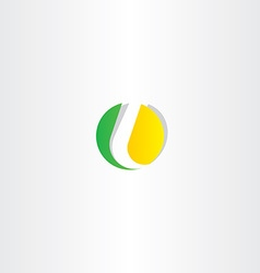 Letter l yellow green circle symbol vector