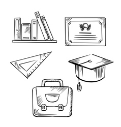 Diploma cap school bag ruler and books vector