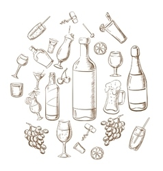 Beverages alcohol drinks fruits and glasses vector