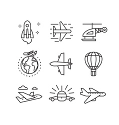 Flat plane icons vector