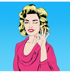 Pop art style girl gesturing okay vector