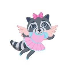 Girl raccoon with wings vector