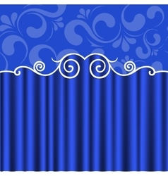Background blue theater curtains vector