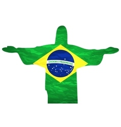Brazil flag jesus background an old grunge flag of vector